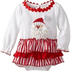 Mud Pie Girl One Piece Santa Ruffle Holiday Dress